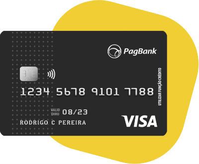 Cartão PagBank com fundo amarelo
