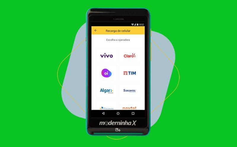 Moderninha X com opções de recarga de celular na tela