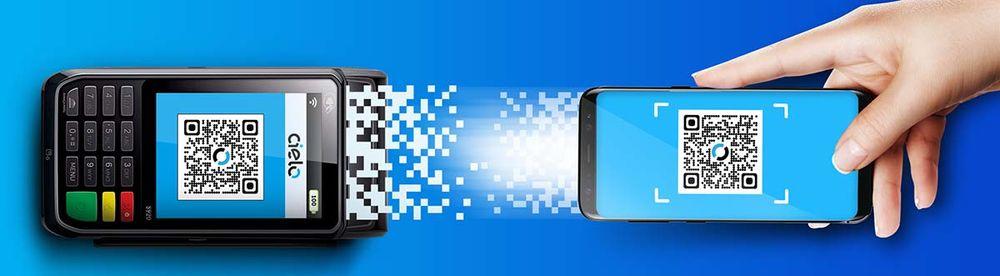 Ilustração de fundo azul da máquina de cartão Cielo Flash recebendo pagamento por app via QR Code