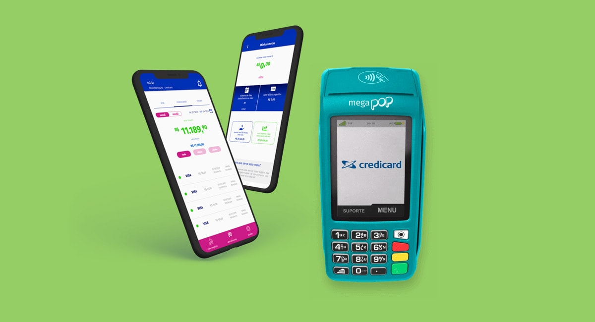 Máquina de cartão Mega Pop Credicard ao lado de celular com app