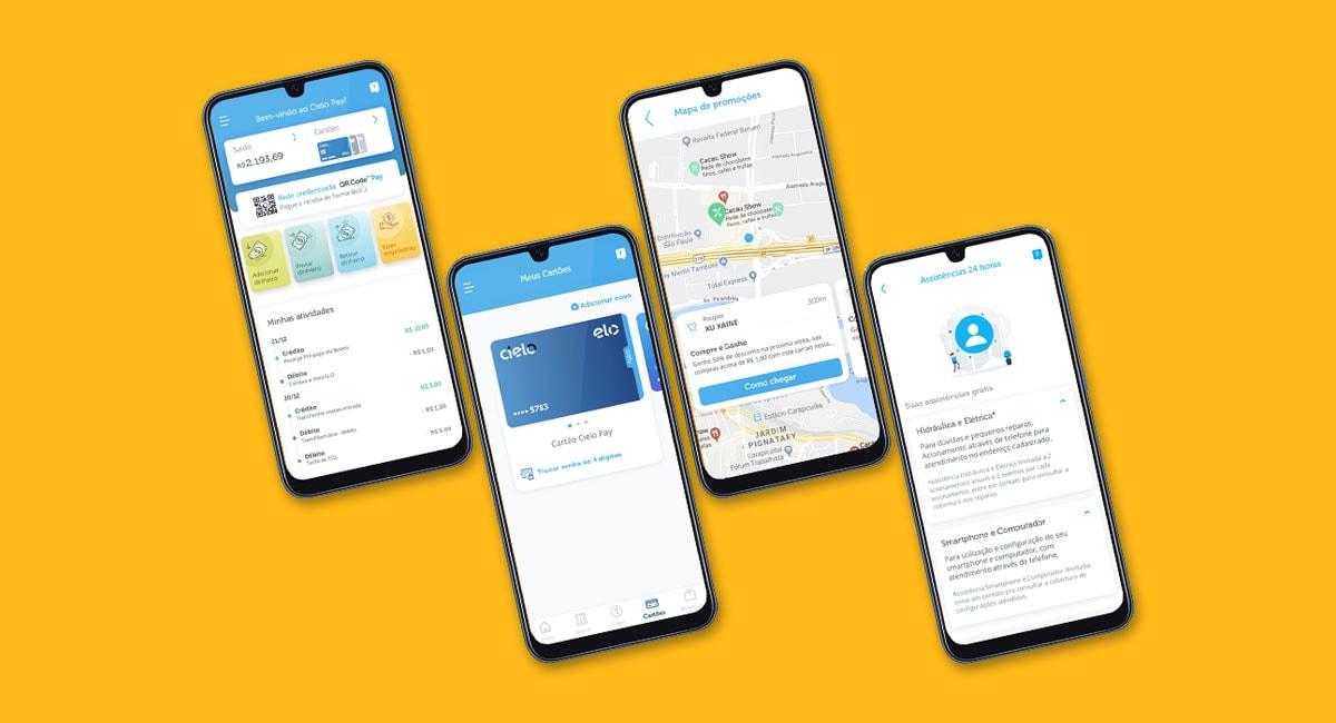 App Cielo Pay na tela de vários celulares