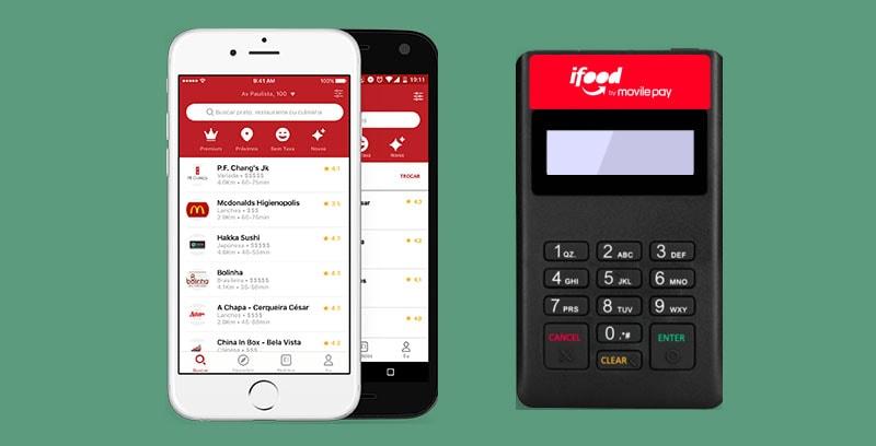 iFood Pocket ao lado de celular e app