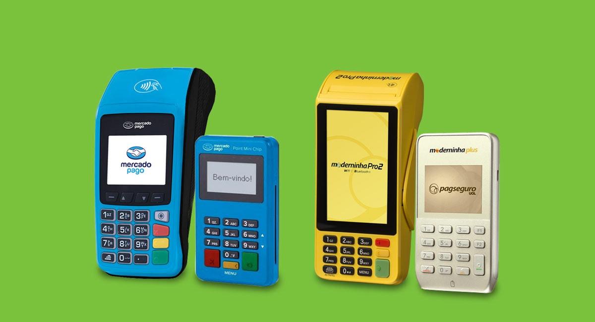 Mercado Pago Pro e Mini Chip, e Moderninha Plus e Pro 2