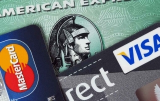 Cartão de crédito Visa, American Express e Mastercard