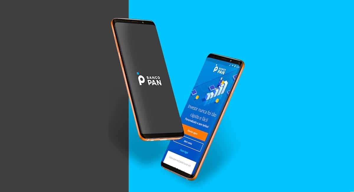 Celulares com app da conta digital do Banco Pan