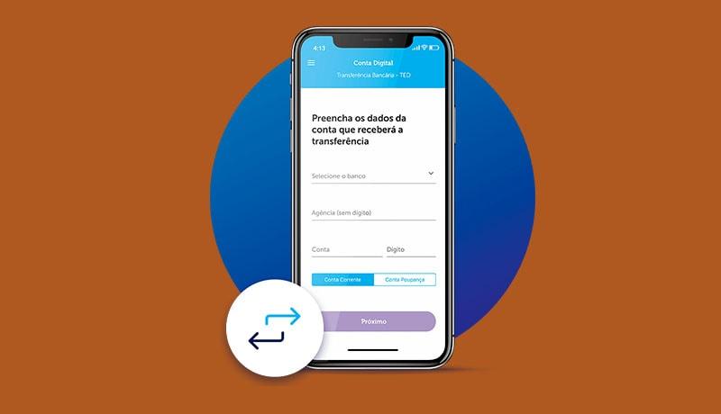 App da conta digital Cielo fazendo transferência no celular