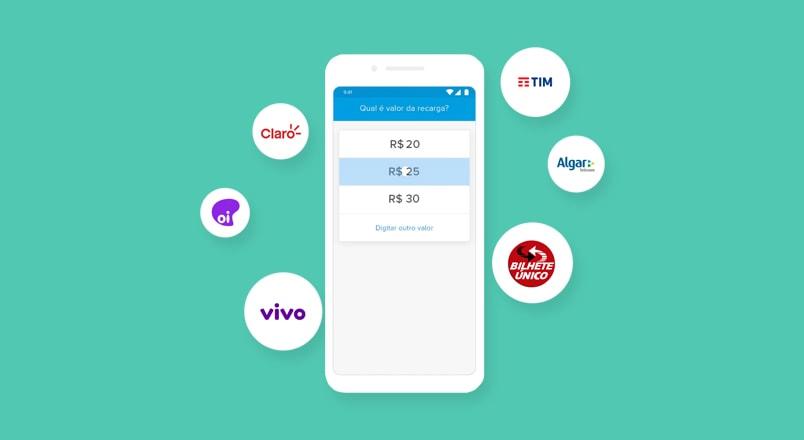 Conta digital Mercado Pago fazendo recarga de celular
