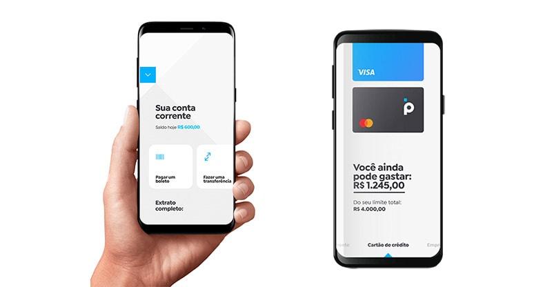 Celulares com Menu da conta digital Banco Pan