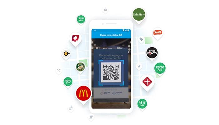App Mercado Pago com QR Code e logo de parceiros