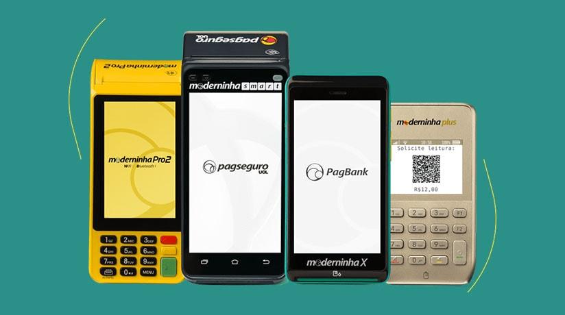 Moderninhas PagSeguro com QR Code na tela da Plus