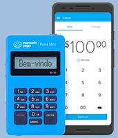 Mercado Pago Point Mini com celular