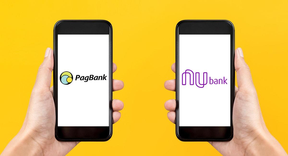 Mãos segurando celulares com logos do Nubank e PagBank na tela