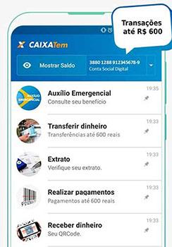 Menu do app Ciaxa TEM para o auxilio emergencial
