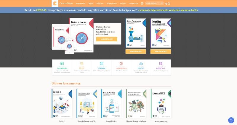 Home page da loja virtual da Casa do Código