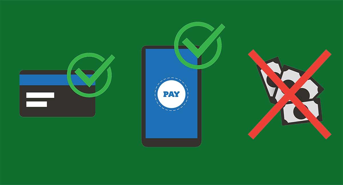 ilustração de nãopara dinheiro e sim para cartão e pagemntop or celular