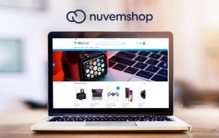 Laptop mostrando template da loja virtual Nuvemshop