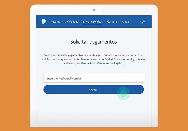 Tela de pagamento por e-mail no PayPal