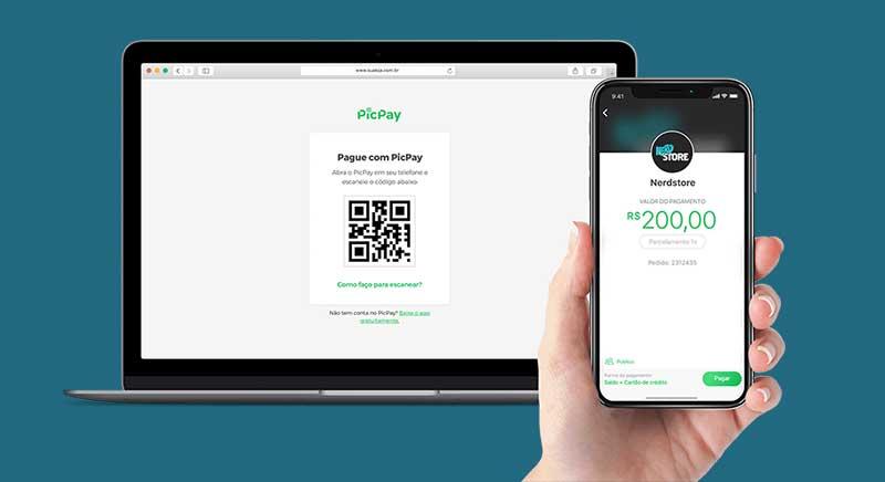 App PicPay no celular pagando online com QR Code