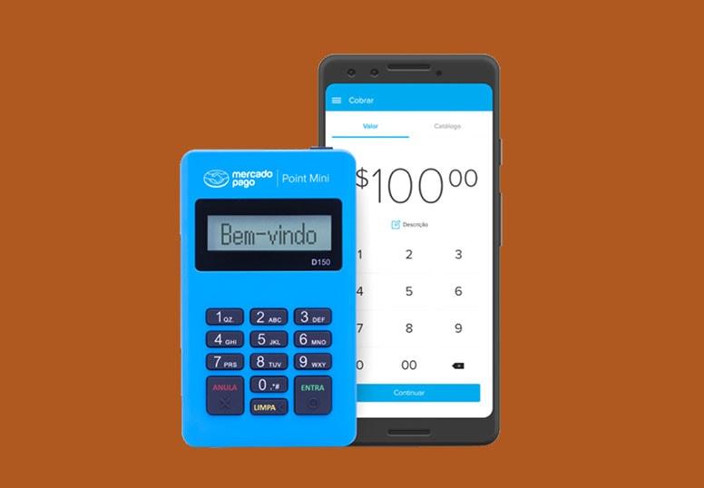 Mercado Pago Point Mini azul com celular