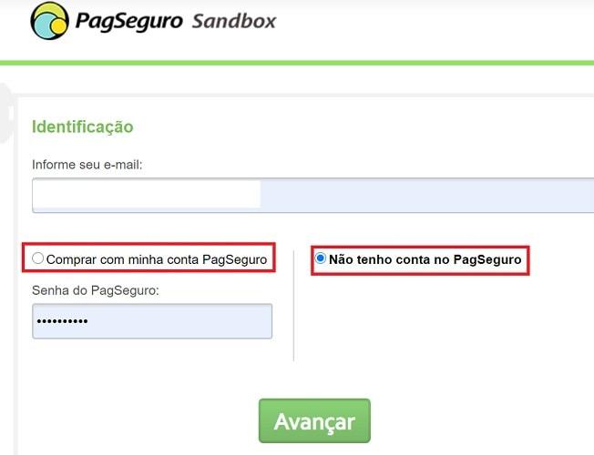 Tela de pagamento do PagSeguro