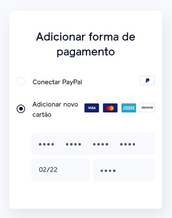 Tela de meios de pagamento do Facebook Pay