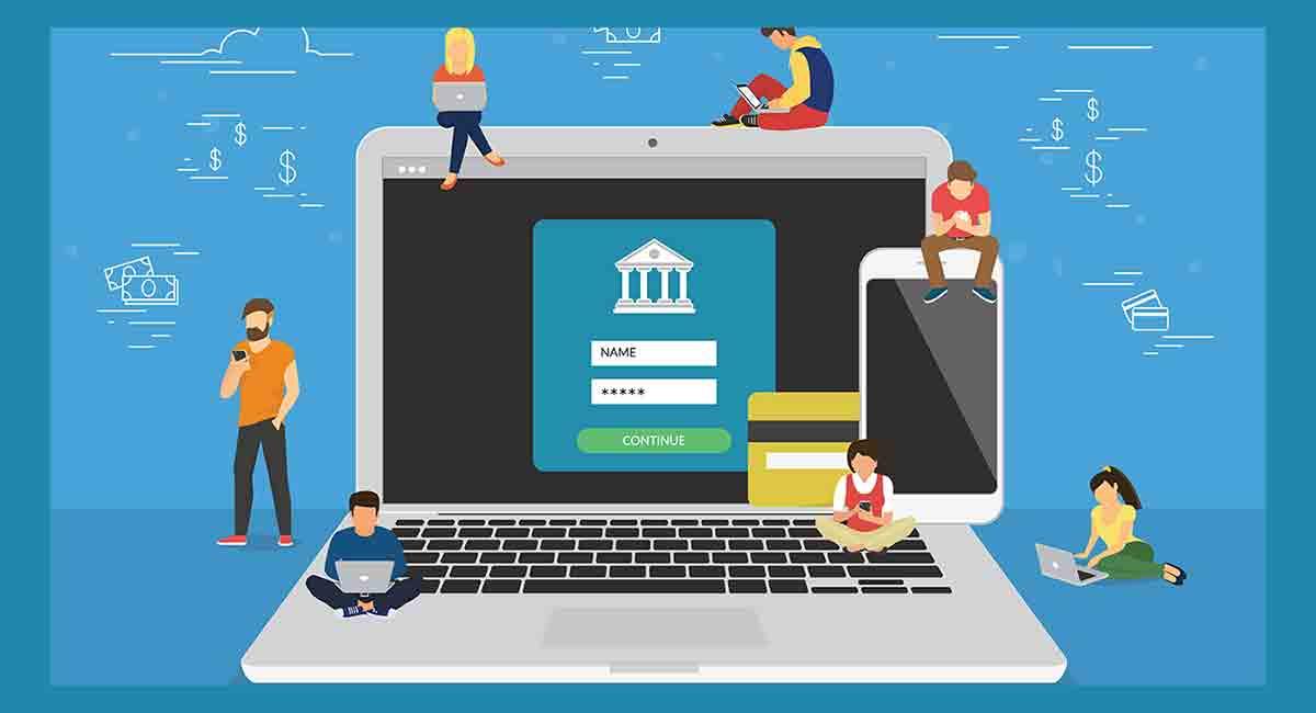 Ilustração de laptop e pessoas fazendo transações via neobank
