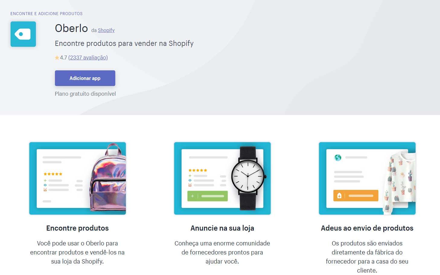 App Oberlo na loja de apps Shopify