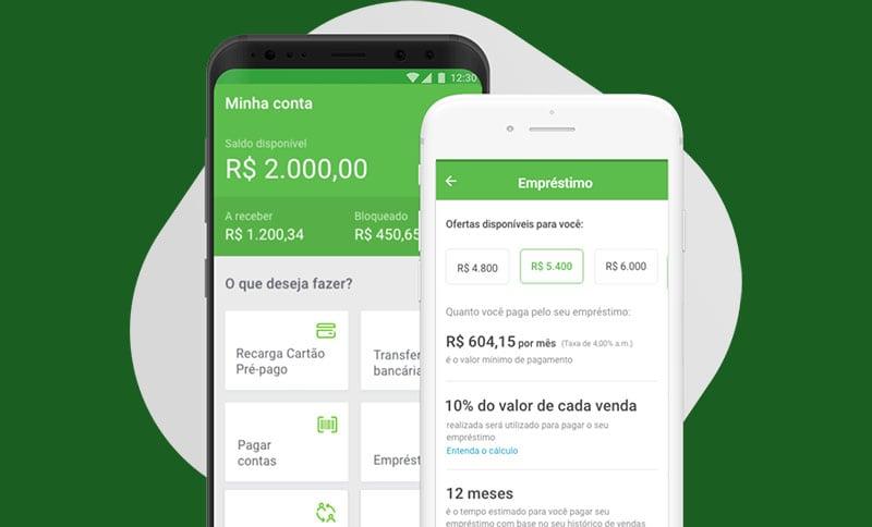 Celular mostrando menu de empréstimo do PagBank