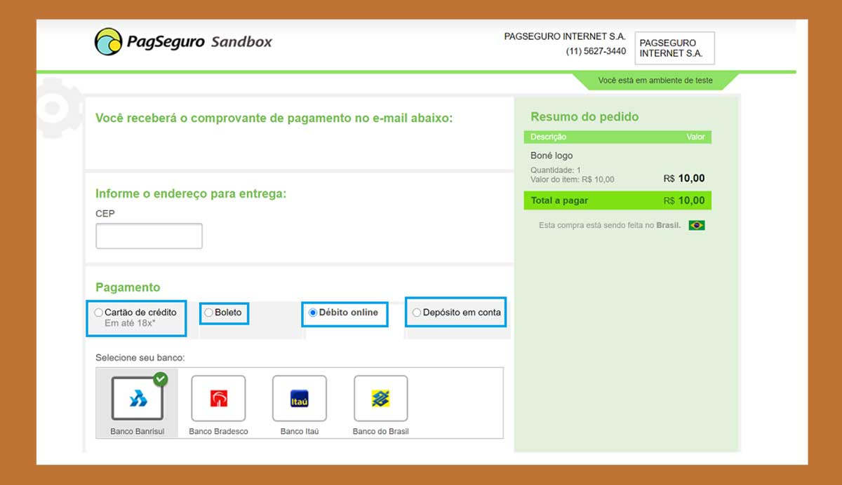 Formas de pagamento do checkout PagSeguro