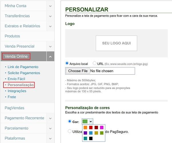 Opções de personalização da tela de pagamento PagSeguro