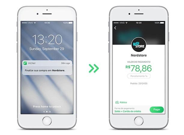 Dois celulares mostrando pagamento com PicPay
