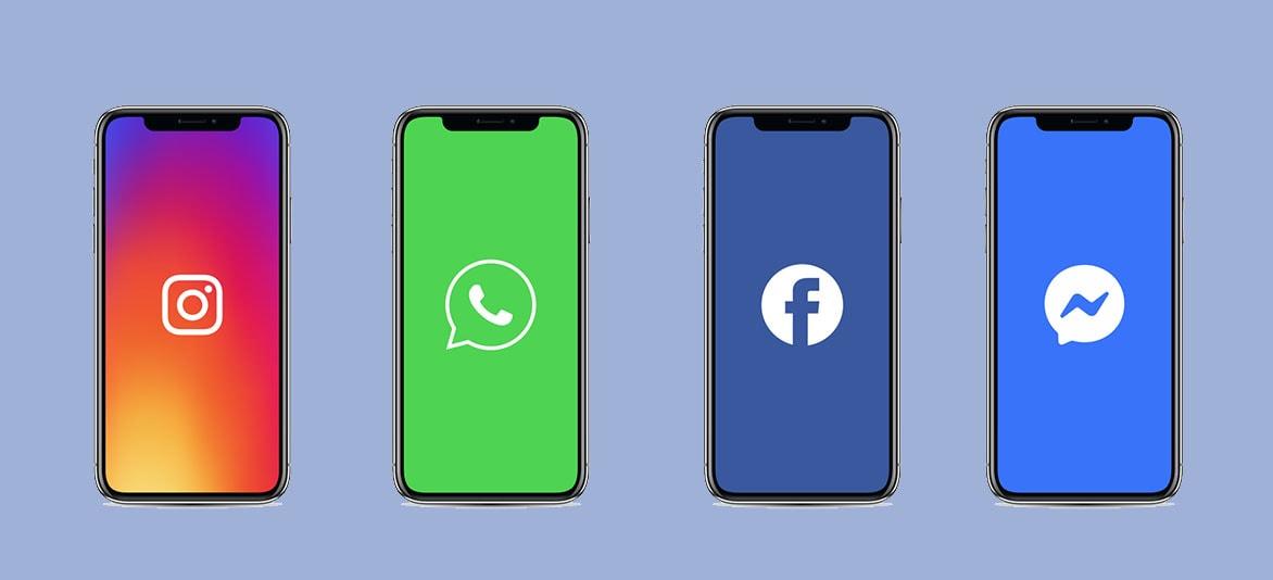 Telas de celular com logos do edes sociais Facebook, Messenger, WhatsApp e Instagram