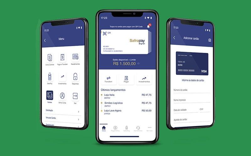Vários celulares mostrando app SafraPay
