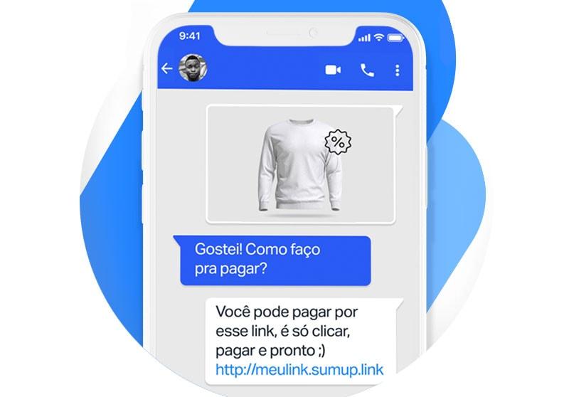 Link de Pagamento SumUp na tela do celular