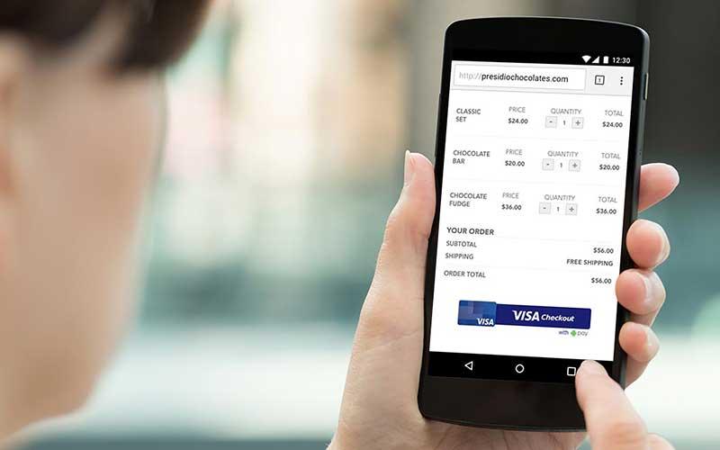Visa checkout realizando pagamentono celular