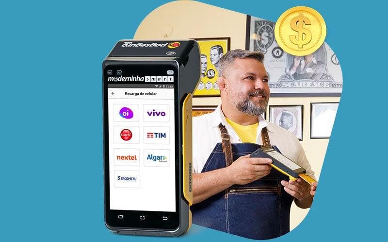 Tela de Recarga de celular da Moderninha Smart