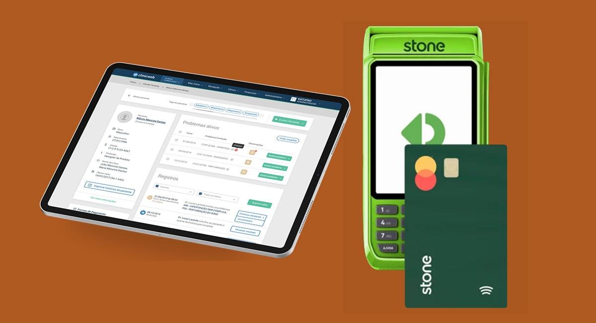 Máquina de cartão Stone e tablet com aplicativo