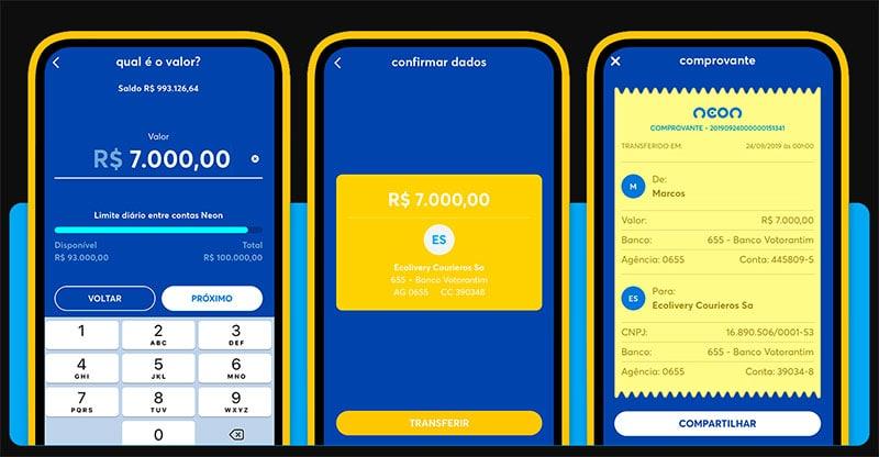 Como fazer transferência no app da conta digital Neon