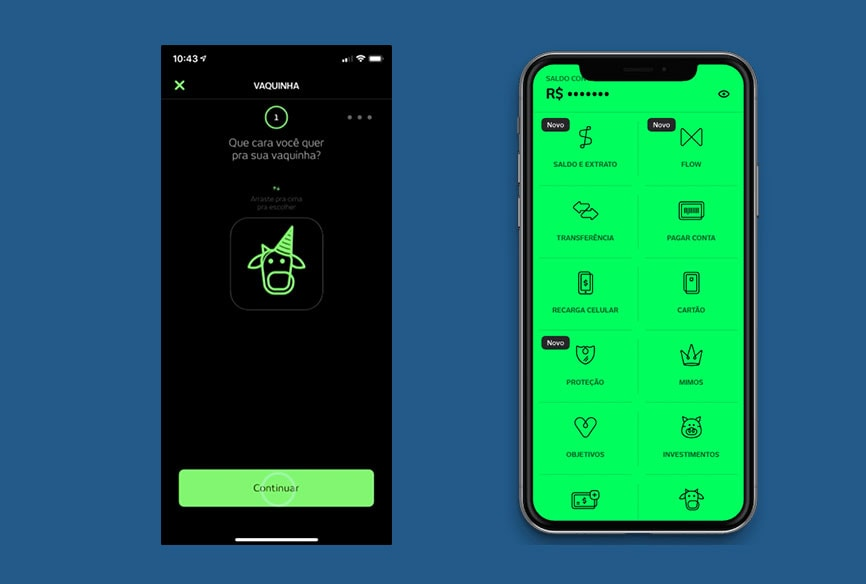 App Banco Next mostrando funções e vaquinha