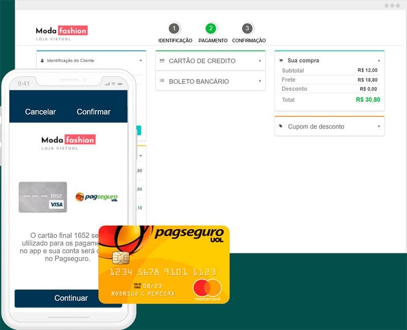 Tela de checkout PagSeguro e cartão pré-pago