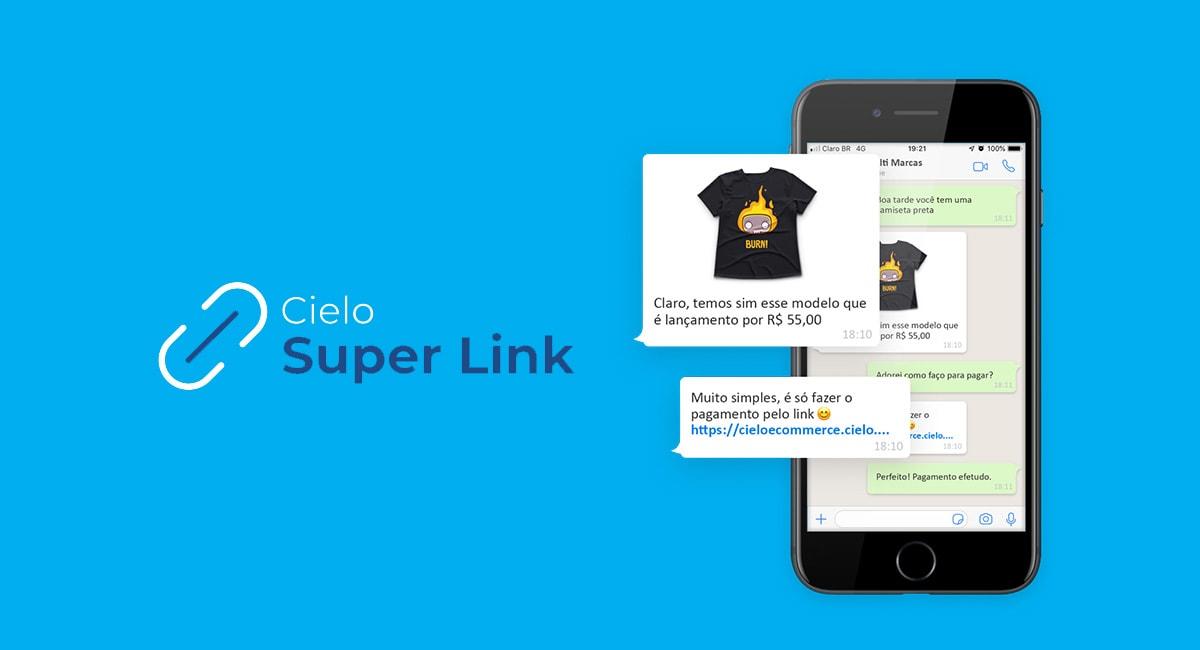 Cielo Super Link no celular e logo