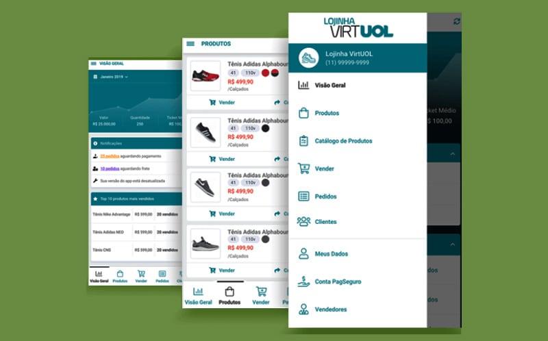 Menu da Lojinha Virtual Uol