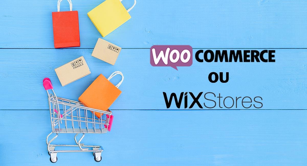WooCommerce ou Wix logos ao lado de carrinho de compras