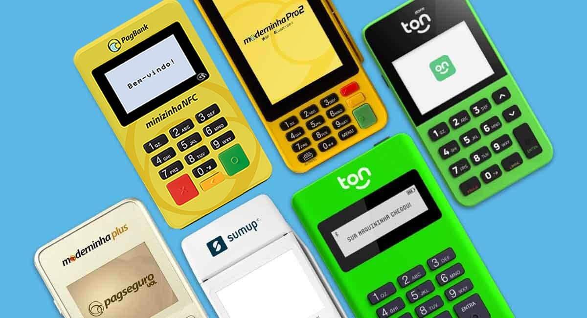 Minizinha NFC, Moderninha Pro 2, Stone Ton T1 e T2. Moderninha Plus e Smart, SumUp Total