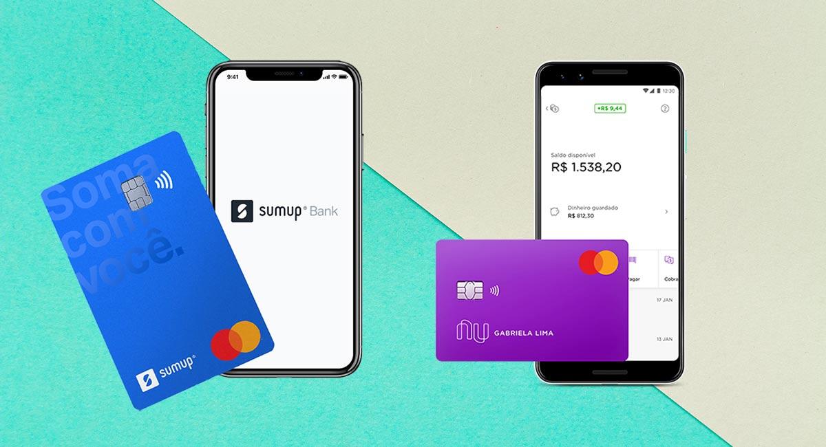Cartão e Celular com logos SumUp Bank e PagBank
