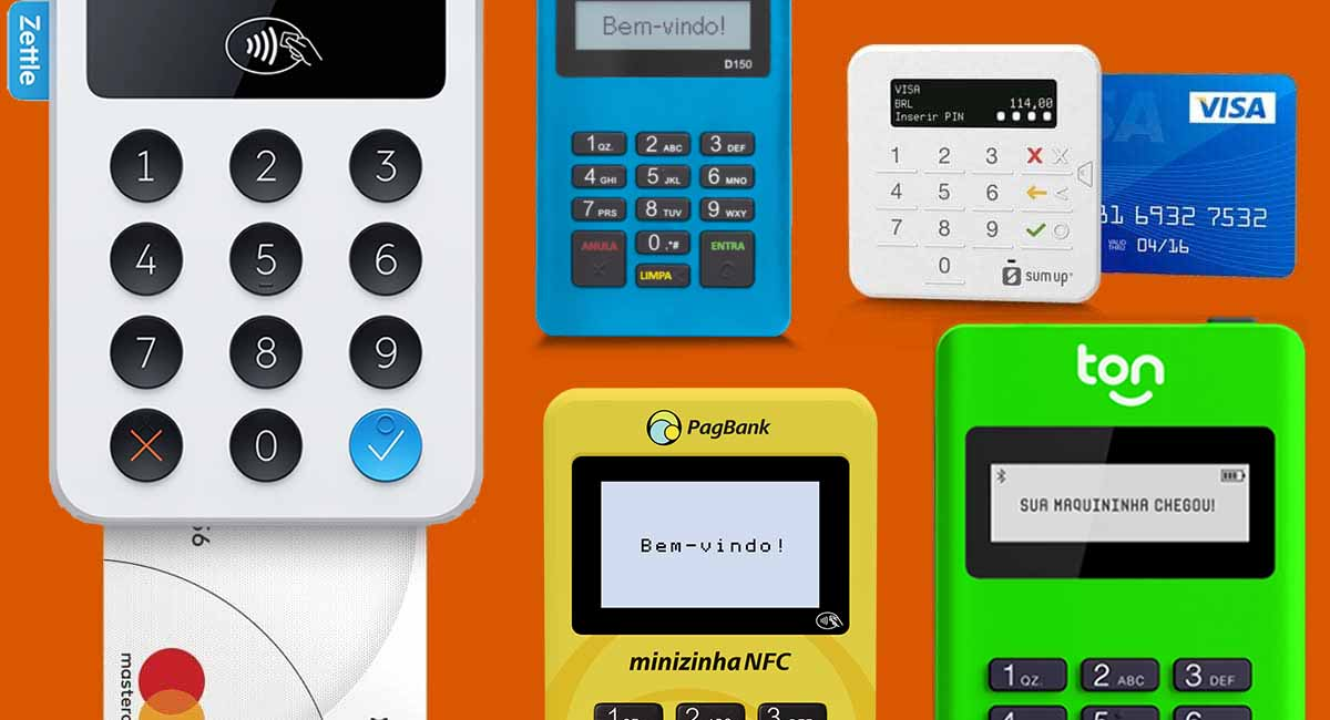 Zettle, Mercado Pago Point Mini, SumUp Top, Minizinha NFC, Ton T1