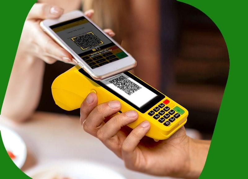 Moderninha Pro 2 recebendo pagamento PIX pelo QR Code do celular