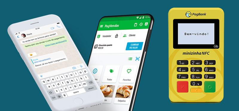 Minizinha NFC e aplicativo PagVendas e link de pagamento no celular