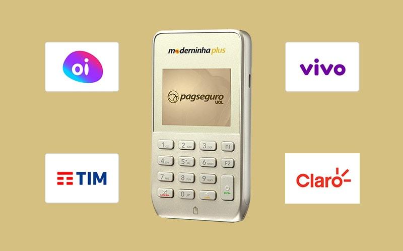 Moderninha Plus com logo de operadoras de celular Oi, Vivo, Tim, Claro