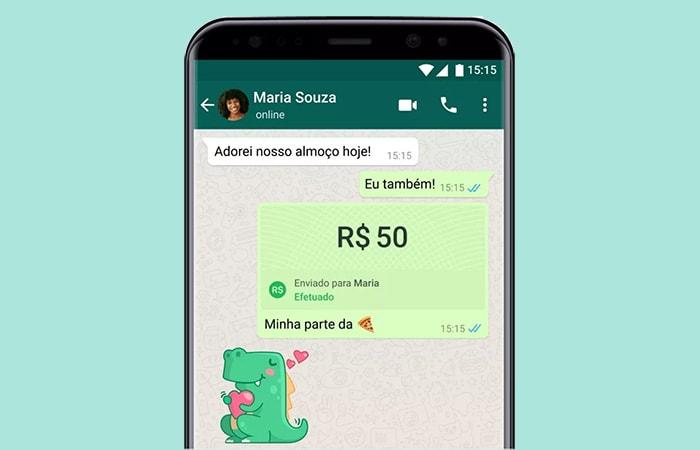 PPagamento recebido via WhatsApp na tela do celular